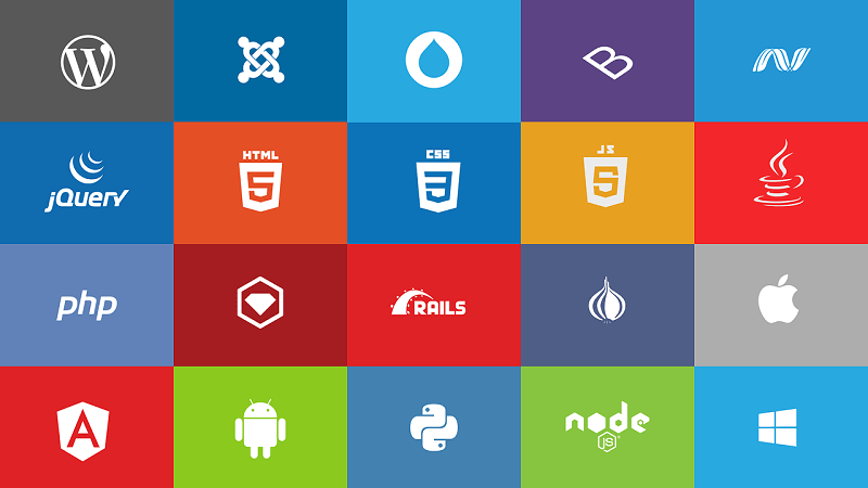 A grid of programming languages, libraries, and frameworks